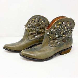Lucky Brand Chelsea Studded Western Boot Sz 10